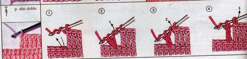 diagrama como fazer punto alto doble - ponto alto duplo