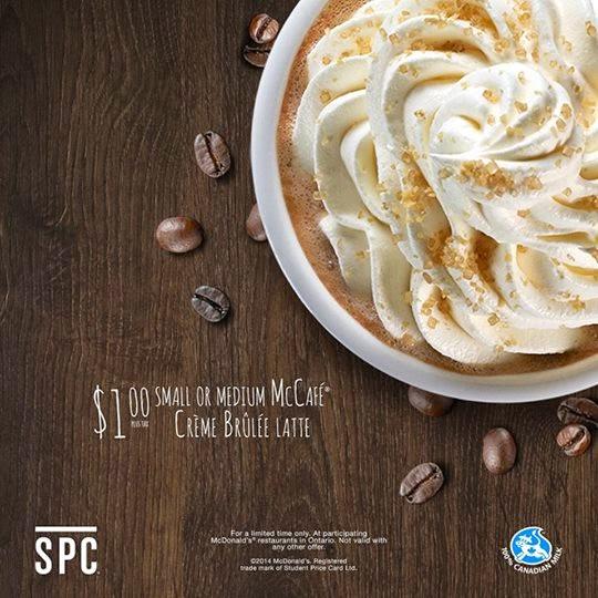 McDonalds SPC McCafe Creme Brulee Latte $1 Special Offer