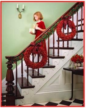 A mi manera c mo decorar las gradas en navidad for Como decorar gradas
