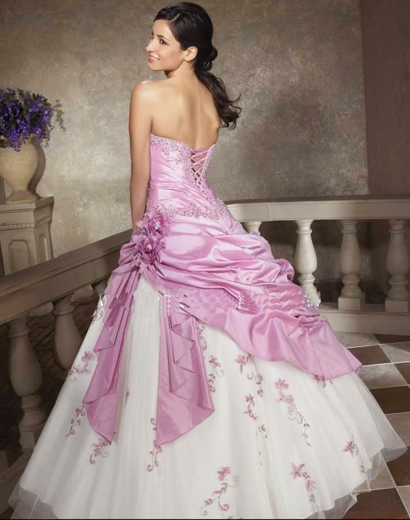 Wedding Dresses With Colored Pink Photos HD
