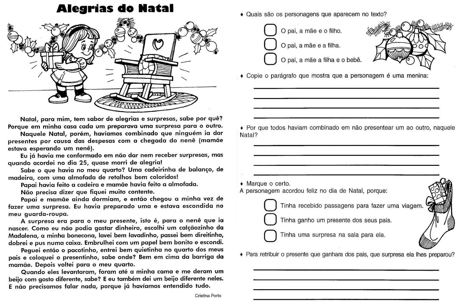 ATIVIDADES NATAL INTERPRETA    O DE TEXTO PRODU    O DE TEXTO