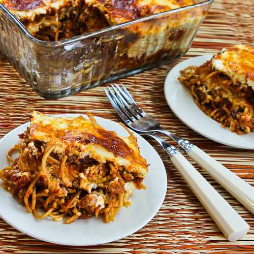 Baked Whole Wheat Spaghetti Casserole with Turkey Italian Sausage and Mozzarella found on KalynsKitchen.com