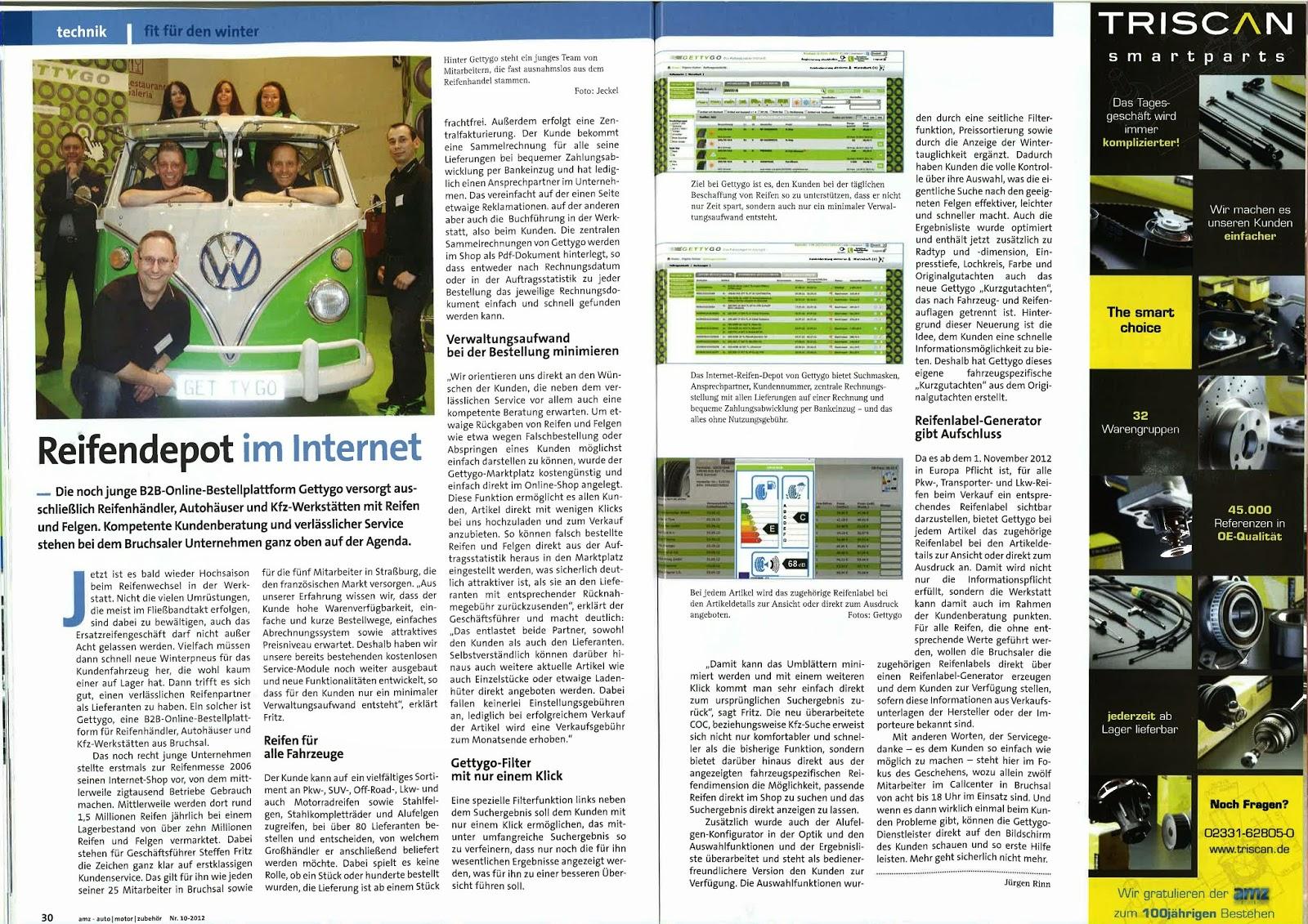 GETTYGO PRESSENEWS: Auto/Motor/Zubehör - Reifendepot im Internet 10/2012