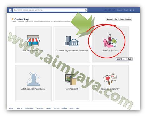 Gambar: Memilih jenis page facebook yang akan dibuat