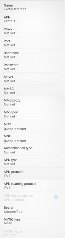 Exetel APN Settings for Android