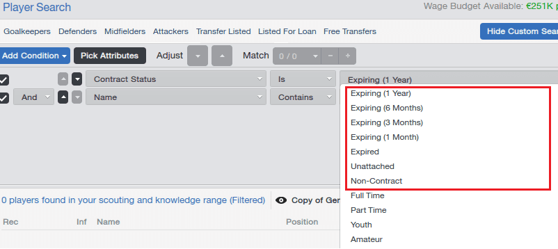 Football Manager Player Search Contract Expire