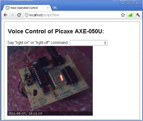 Voice Operated Picaxe Control over Internet