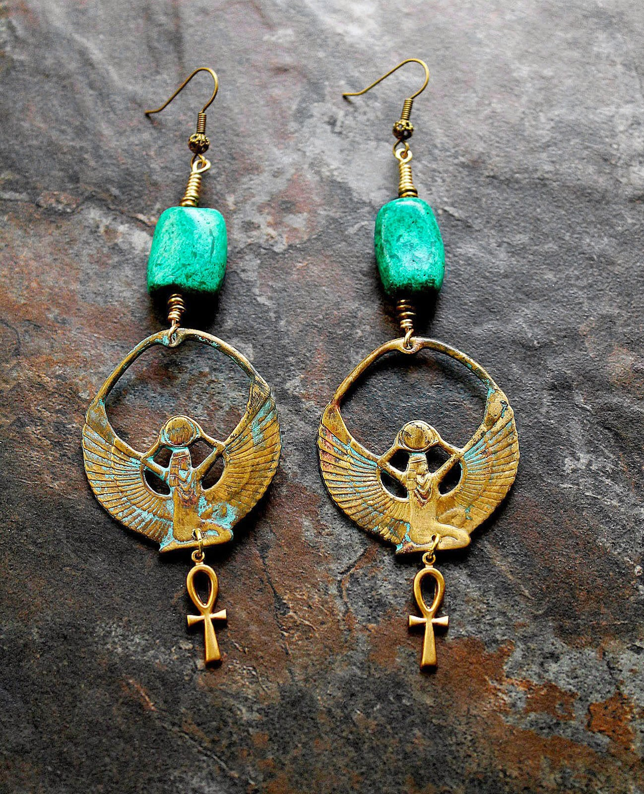 brass ankh goddess earrings