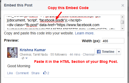 Facebook Embed a Post - Step-3