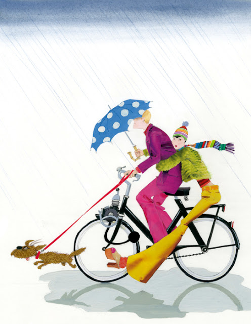 illustration of a couple riding a solex in the rain by Robert Wagt