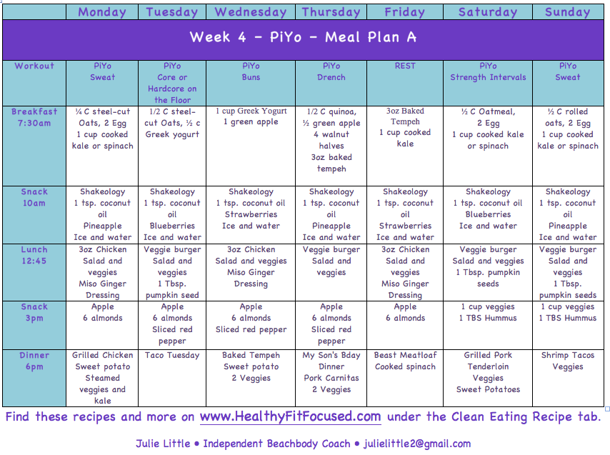 Piyo Meal Plan, Piyo week 3 update and meal plan, healthy fit focused