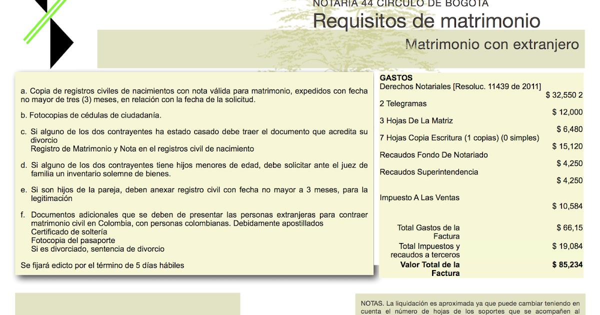 Registro De Matrimonio Catolico En Notaria : Requisitos de matrimonio con extranjero