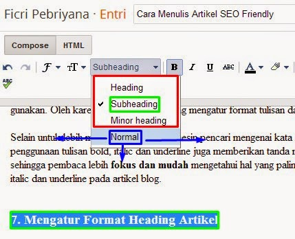 Mengatur Format Heading Artikel