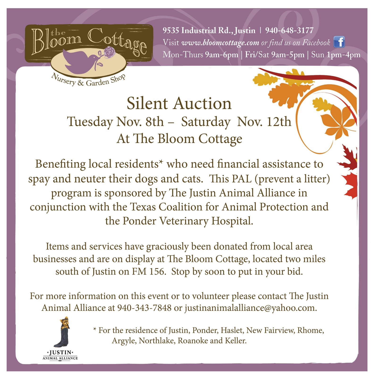 The justin animal alliance previous silent auction for Silent auction program template