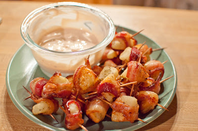 ... Food: Bacon Wrapped Potato Bites with Spicy Sour Cream Dipping Sauce