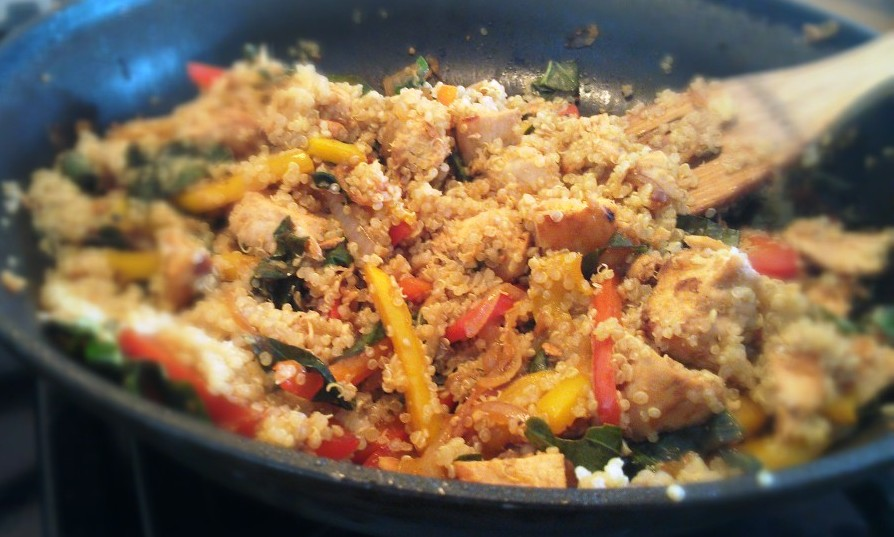 ... -Free Recipes: Garlic Chicken Stir Fry with Quinoa, Peppers and Basil