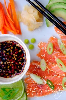 Sashimi med syltet ingefær og wasabi