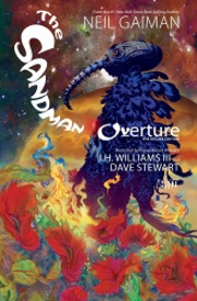 Cover of Sandman: Overture, featuring a person dressed in dark robes and a long-nosed helm. They stand in a field of burning red flowers, an orange planet visible against a starry red and dark blue sky behind them.