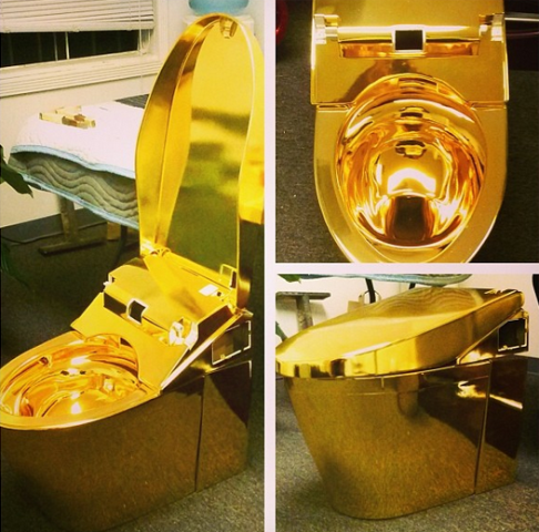 Cash Money Records co founder  Hip Hop tycoon Bryan Williams aka Birdman showed off his solid gold toilet on instagram page Saturday down the drain shows 1million dollar