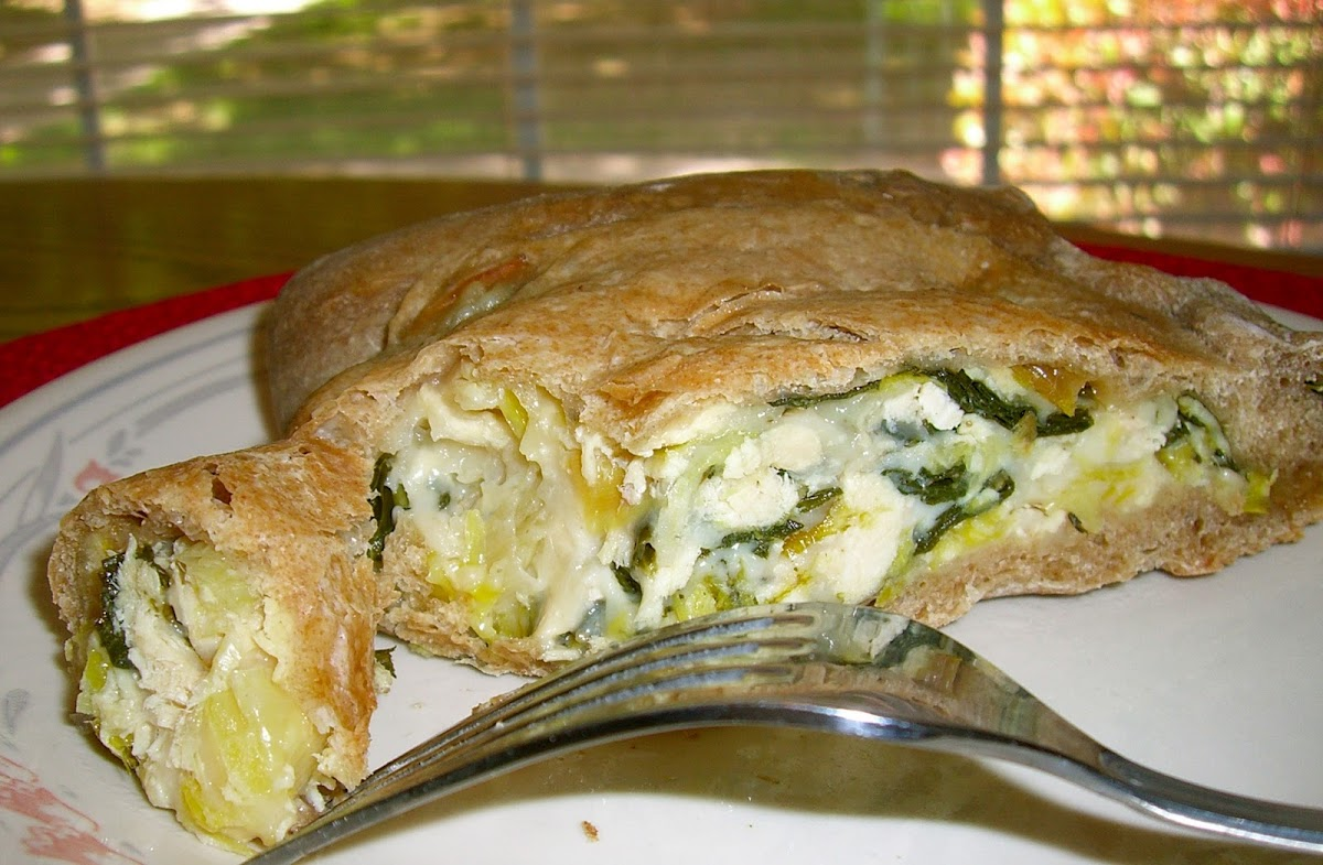 Collard Greens, Leek, Chicken Calzone