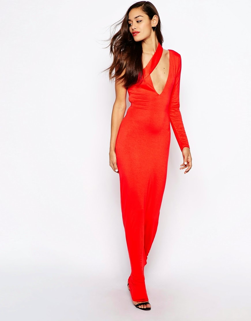 red aq aq dress, red one shoulder maxi dress,