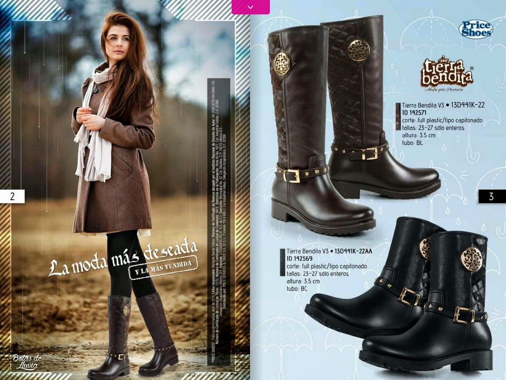 Catalogo de botas de lluvia Price shoes 2015