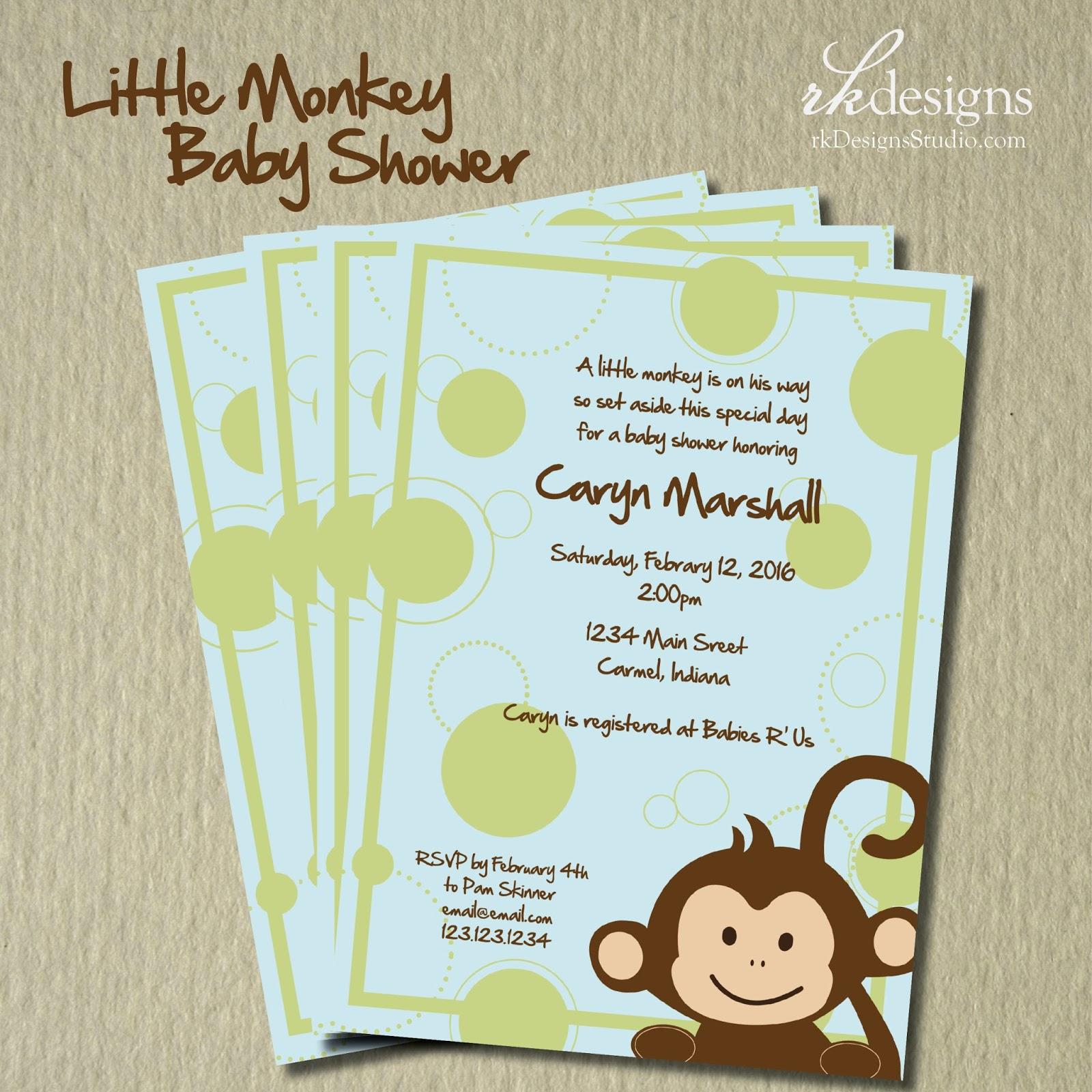 rkdesigns little monkey baby shower
