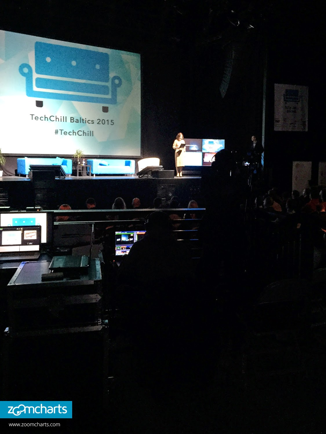 a speaker introduces the next presenter on stage at the techchill baltics 2015 emerging technology conference which took place on february 10 at the