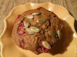 Pumpkin Cranberry Muffin on Plate, Ready to Eat