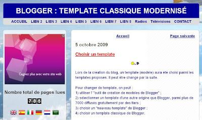 template modernisé à 2 colonnes pour blogger