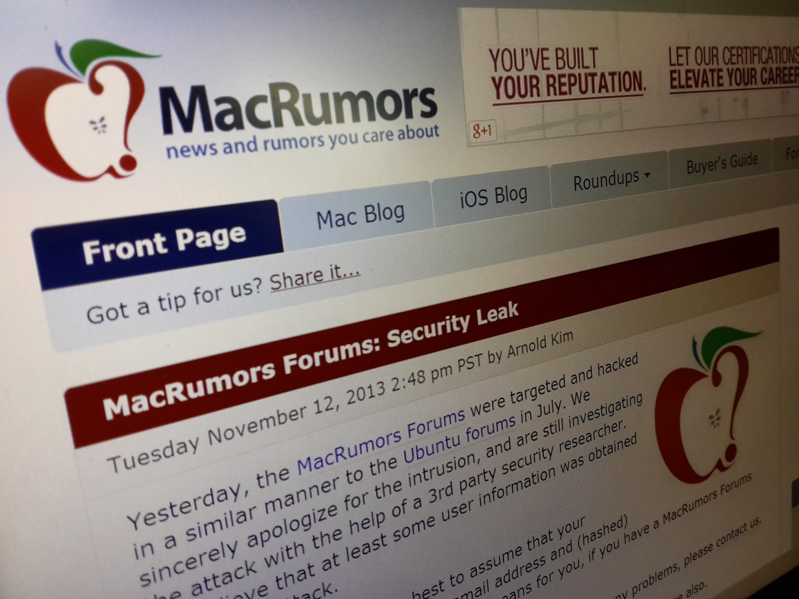 Popular Mac news and information site MacRumors user forums have been ...