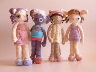 amigurumi csoportkép, csak a lányok