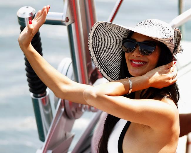 Nicole Scherzinger on a boat in Monte Carlo 2012