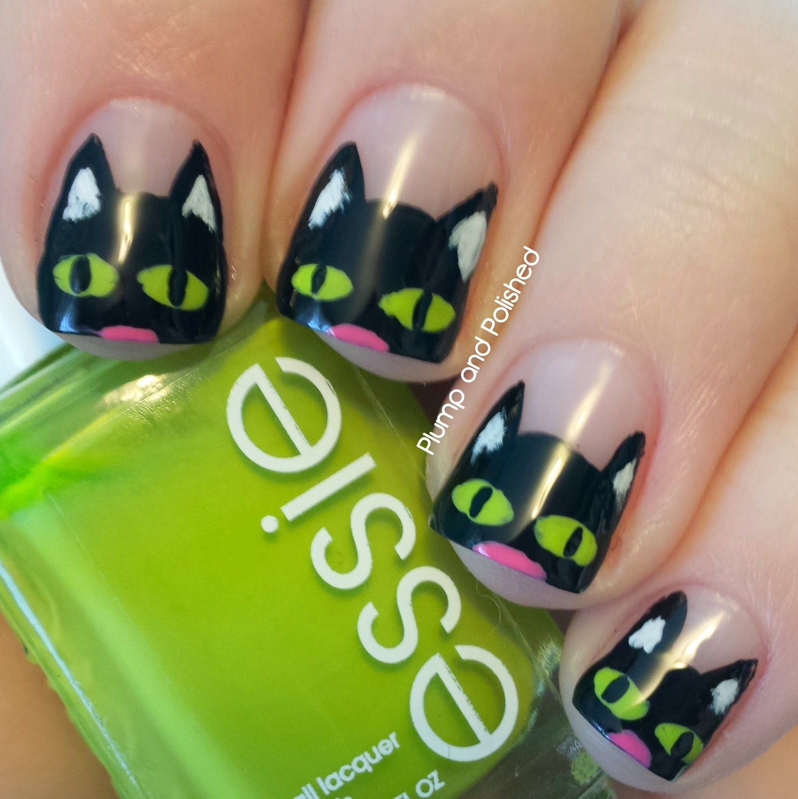 Halloween Nail Art - Black Cats
