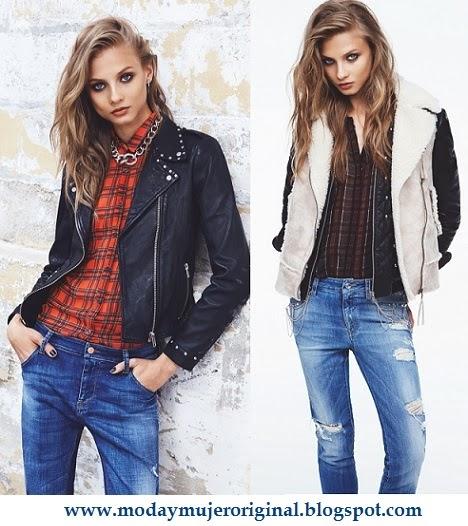 jeans chaquetas de cuero y camisas a cuadros