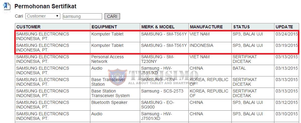 Samsung SM-T561Y mendapat sertifikasi Postel Indonesia, Galaxy Tab 5?