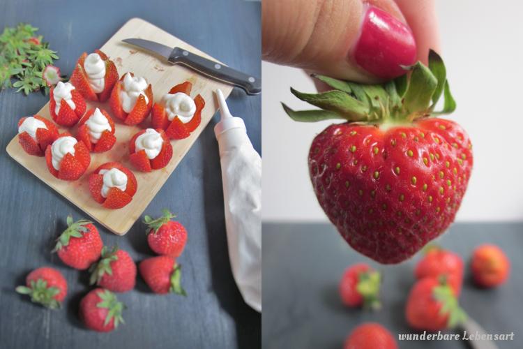 Erdbeer-Cheesecake: Erdbeeren gefüllt