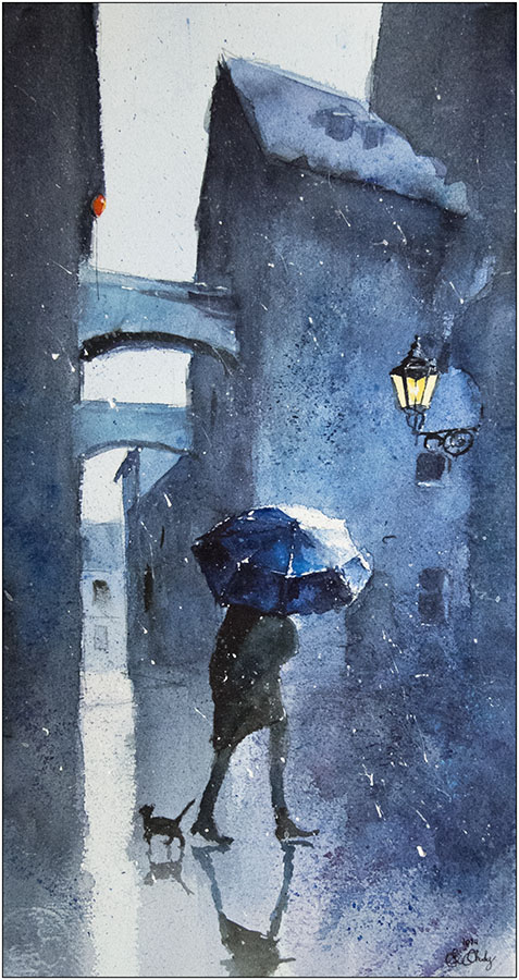 16-Blue-umbrella-and-a-cat-Grzegorz-Chudy-sanderus-Dreams-Started-with-Watercolor-Paintings-www-designstack-co