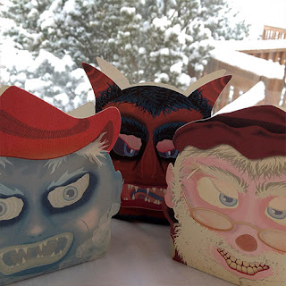 Jack Frost, Krampus, and St Nick appear on Christmas holiday candy container lanterns by artistt Bindlegrim