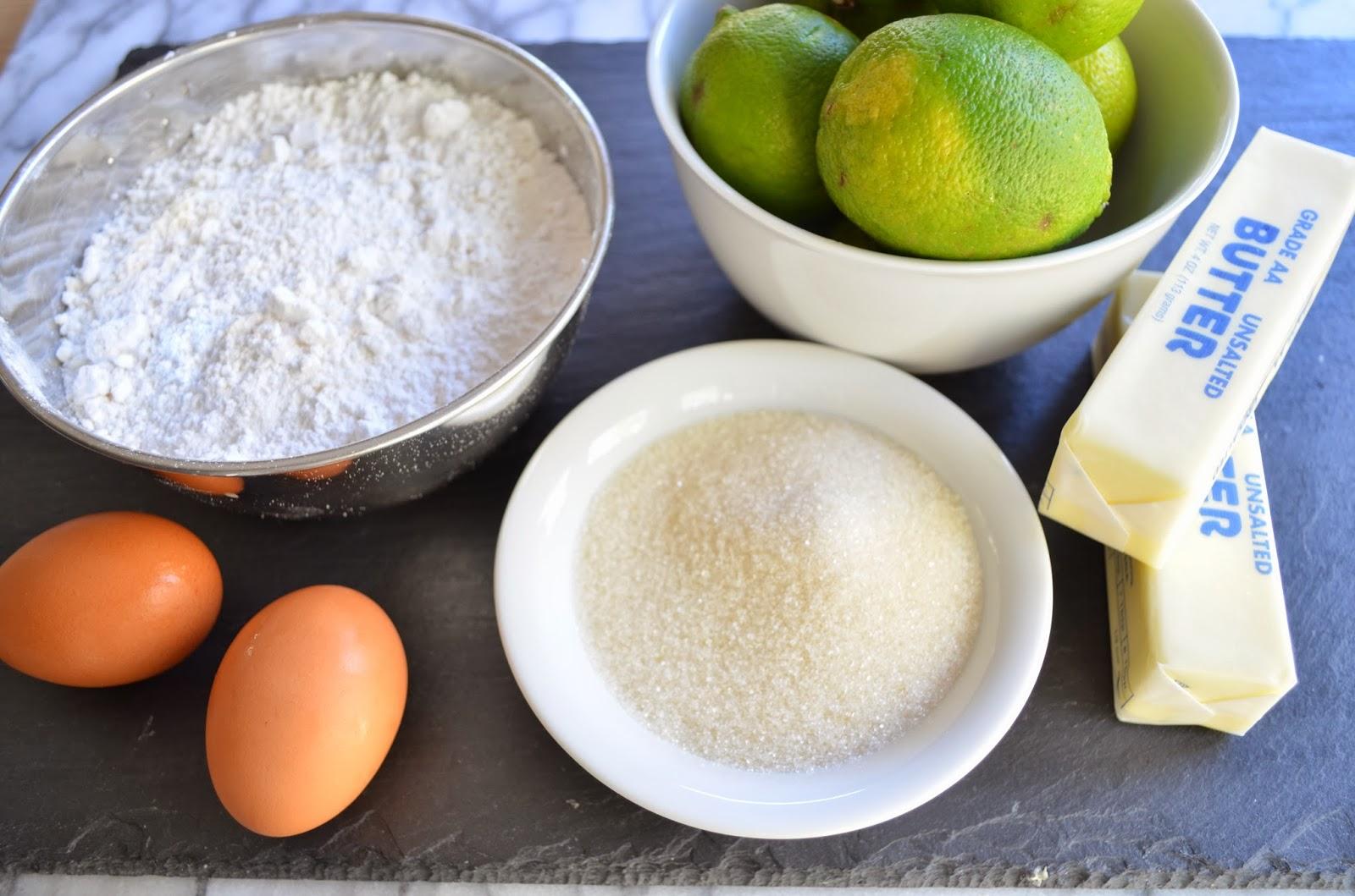 key lime tart - ingredients