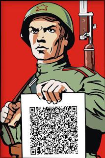 Плакат с солдатом, который держит листовку