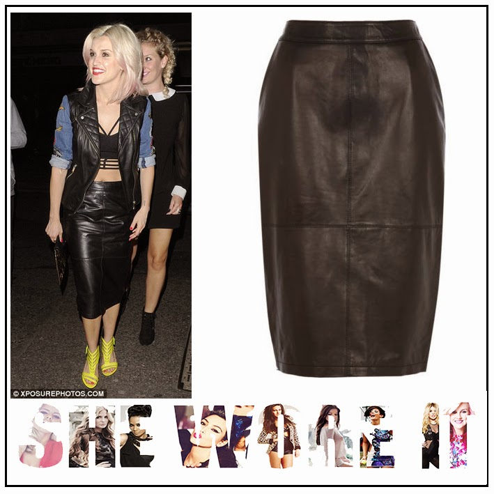 Ashley Roberts, River Island, Black, High Waisted, Panelled, Leather, Midi Pencil Skirt, Seam Detail, Pussycat Dolls
