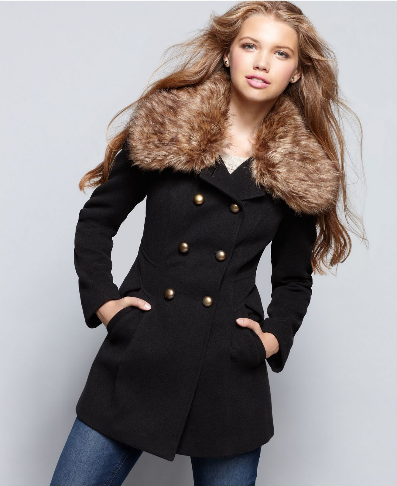 Collection Faux Fur Collar Coat Pictures - Reikian
