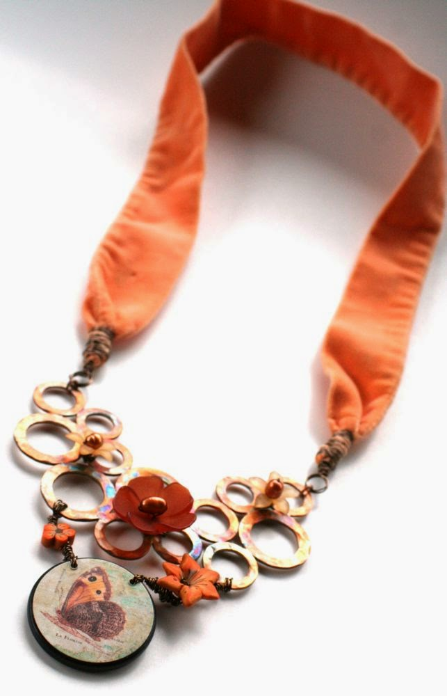 Childhood memories garden: ooak necklace ~ copper washers base, focal by Marie-Noel Voyer-Cramp of Skye Jewels, polymer clay by Elaine Robataille, pearls, lucite, vintage velvet ribbon :: All Pretty Things