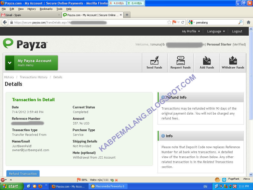 justbeenpaid.com Pembayaran tanggal  4 Juli 2012