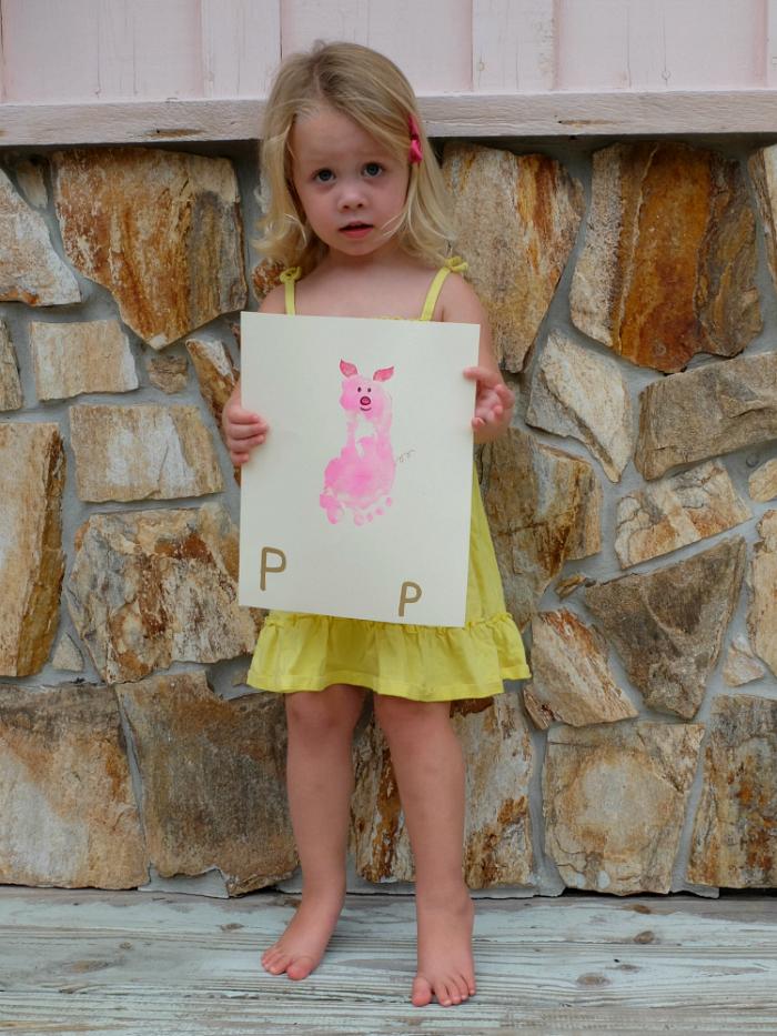 P is for Pig foot print artwork