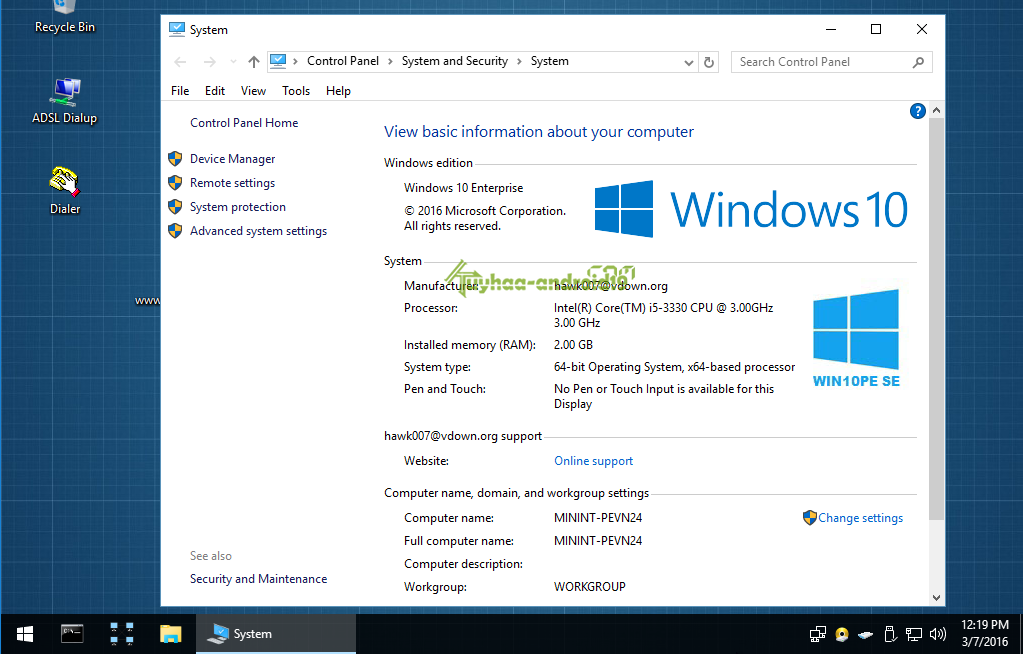 Windows 10 PE SE x64 Live Disc
