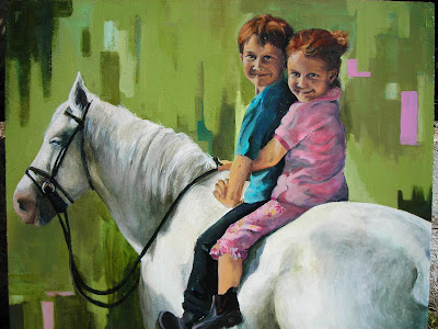 nicole sanderson painting commission children acrylic on canvas with horse