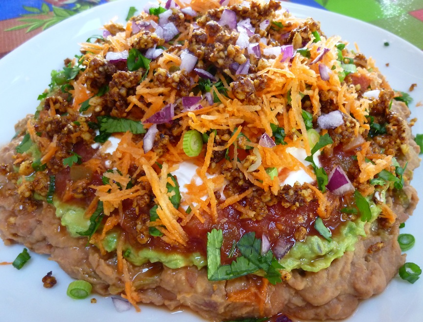 Healthy Vegan And Gluten Free 7 Layer Bean Dip With Walnut Taco Meat ...