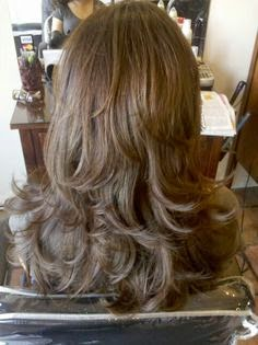 Step cut hairstyle for straight hair back view